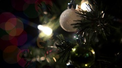 Christmas Tree Rotate Colorful Star Filter Close Stock Footage