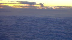 Soft Clouds from Airplane, Sunset Stock Footage