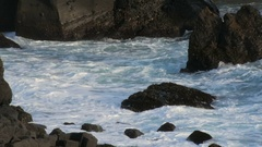 Powerfull sea waves is breaking of rocky coast on south-west of Iceland, close Stock Footage