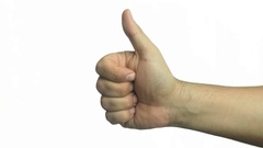 Male hand thumb up or like sign on white Stock Footage
