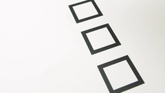Male hand putting mark on checkboxes of checklist Stock Footage