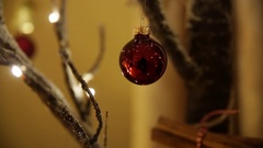 Bauble on a christmas tree in Europe Stock Footage