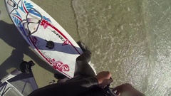 A man windsurfing , slow motion. Stock Footage