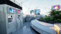 Space laboratory, sci-fi interior. life on mars, alien planet. Stock Footage