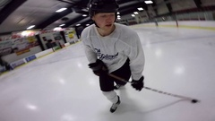 Hockey fancy stickhandling skills go pro spin view Stock Footage