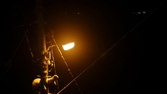 Street light with snow in winter Stock Footage