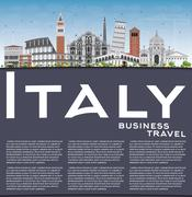 Italy Skyline with Landmarks and Copy Space. Stock Illustration