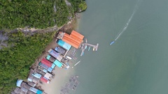 Aerial landscape view of Koh Panyee village, Thailand Stock Footage