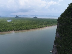 Aerial view Phang Nga Bay Marine National Park protected and of international ec Stock Footage