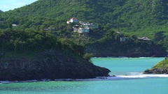 Aerial of luxury oceanfront apartments - Caribbean Island, Antigua Stock Footage