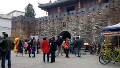 People visiting an old traditional Chinese building on New Year holidays 4K Stock Footage