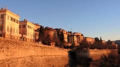 Bergamo - Old city (Città Alta). The venetian walls. Stock Footage