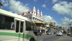 Caribbean city scene - Aruba, Oranjestadt downtown Stock Footage