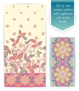 Set of pink raspberries seamless vertical floral design and ornate border. The Stock Illustration