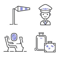 Aviation icons vector set Stock Illustration