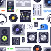 Music concept seamless pattern made with icons. Includes dj, rock, club and Stock Illustration