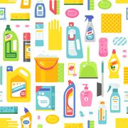 Cleaning tools sweamless pattern vector Stock Illustration