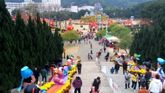People playing in a park on Chinese New Year holidays 4K Stock Footage