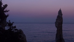 Seagull stand on one leg in Chooam candlestick rock in evening Stock Footage