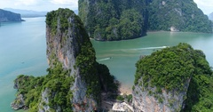 Aerial view of James Bond island and beautiful limestone rock formations in the  Stock Footage