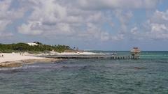 Mexico Caribbean Ocean beach pier vacation HD Stock Footage
