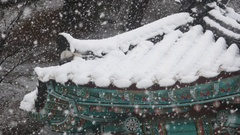 Falling snow over korean traditional house roof. Stock Footage