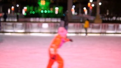 People skate on the rink skating winter. Soft focus deliberately Stock Footage