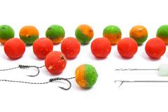 Carp fishing. Different of carp boilies and accessories for carp fishing is.. Stock Photos