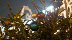 Bright Illumination on a christmas tree at city Stock Footage