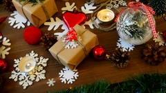 Christmas and New year background with presents, lights, candles and different Stock Footage