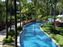 Mexico beautiful vacation swimming pool jungle lake DCI 4K Stock Footage