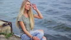 Girl having fun on the Volga River Stock Footage