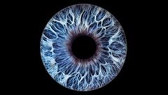 Closeup view of Human Eye Iris (Blue with Texture) Stock Footage