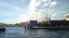 Floating bridge closing - Willemstad downtown, Curacao Stock Footage