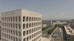 Palazzo della Civiltà Italiana, square coliseum Stock Footage