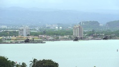 Helicopters fly over sea - San Juan, Puerto Rico Stock Footage