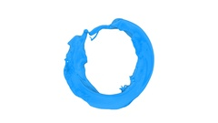 Ring of light blue paint flowing and rotating - on white , with alpha (FULL HD) Stock Footage