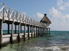 Mexico Caribbean Ocean beach pier dive boat DCI 4K Stock Footage
