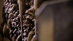 Processing of clay at industrial dactory. Clay goes through industrial equipment Stock Footage