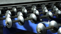 Contemporary equipment. Modern robotic line for production of frosted glass. HD Stock Footage
