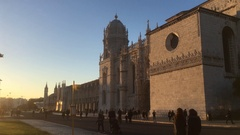 Tourists at Famous Jeronimos Monastery In Lisbon Stock Footage