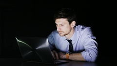Suprised Young Businessman During Overtime Stock Footage