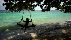A kid playing on a Thai island. Stock Footage