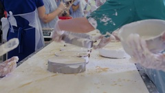 Cookies baking in the industrial oven. Cakes and cookies production factory Stock Footage