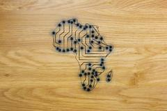 Africa map made of electronic microchip circuits Stock Illustration