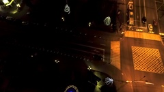 Ornate and lighted Christmas trees in the city Stock Footage