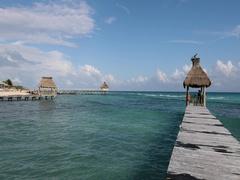 Mexico beach piers Caribbean Ocean Pelicans DCI 4K Stock Footage