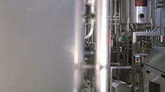 Modern complex technological industrial equipment at a brewery. Steadycam shot Stock Footage
