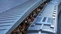 4K Commuters commuting Monastiraki metro station platform Train Athens Greece Stock Footage