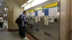 4K Ticket booth Commuters Monastiraki metro station subway underground Athens Stock Footage